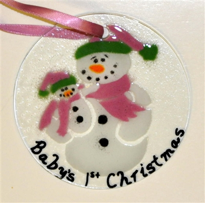snowman with baby babys 1st christmas pink suncatcher